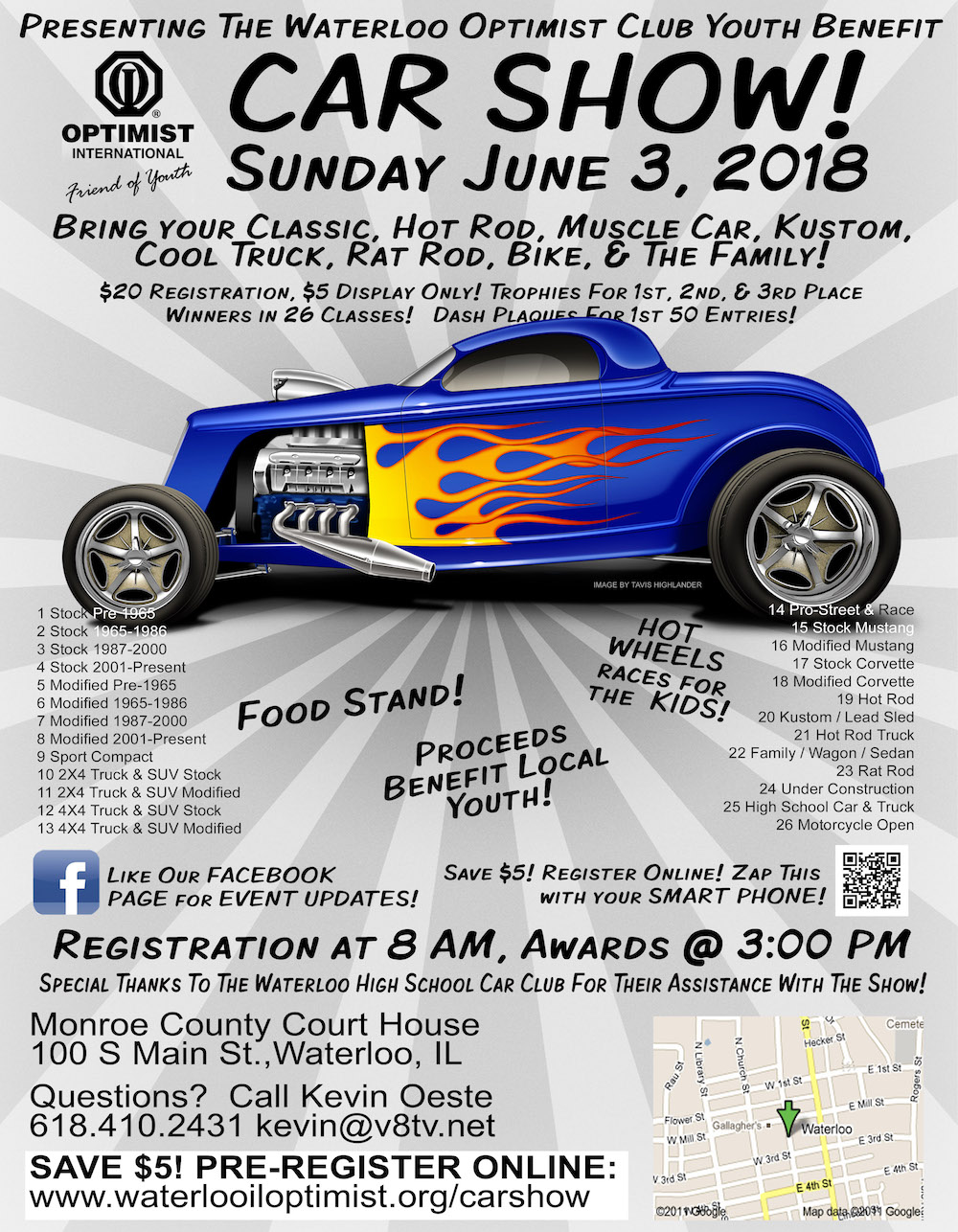 2018 Waterloo Optimist Car Show Flyer